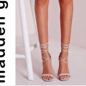 Beige Nude Ankle Wrap Heels Madden Girl Size 10